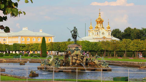 Neptune fountain in petergof park Saint-Petersburg Footage