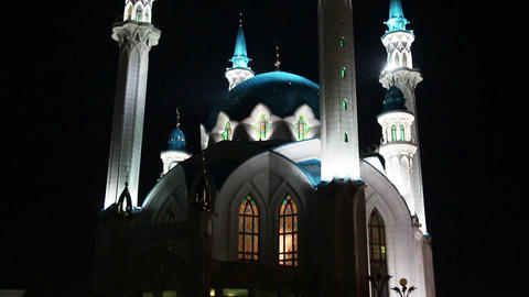 kul sharif mosque at night in kazan russia Footage