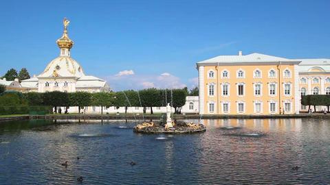 ornate dome in petergof park - saint-petersburg Ru Stock Video Footage