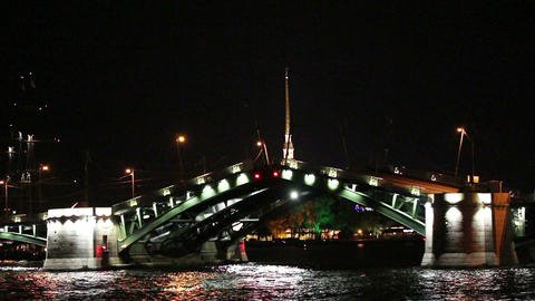 opening drawbridge at night in St. Petersburg Russ Stock Video Footage
