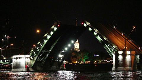 opening drawbridge at night in St. Petersburg Russ Footage
