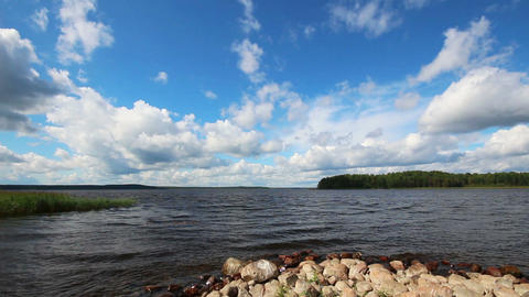landscape with Vuoksa lake in Russia - timelapse c Stock Video Footage