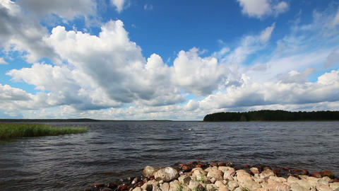 landscape with Vuoksa lake in Russia - timelapse c Footage