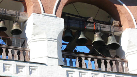 ringer playing on bells on church tower - Suzdal R Footage