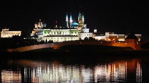 kazan kremlin with reflection in river at night in Stock Video Footage