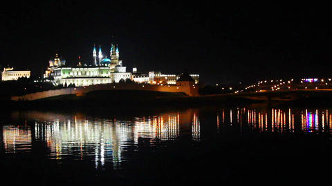 kazan kremlin with reflection in river at night in Footage