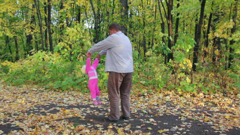 father playing with baby in autumn park Stock Video Footage