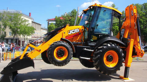 Demonstration Of Multifunctional Tractor At The Ex stock footage