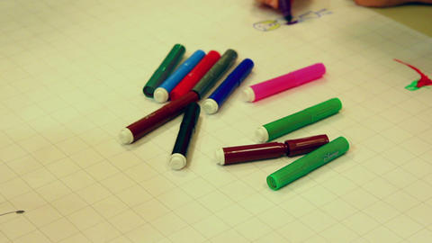 Drawing - Color Markers stock footage