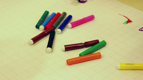 drawing - color markers Stock Video Footage