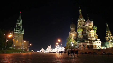 Kremlin and temple on Red square in Moscow Footage