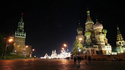 Kremlin and temple on Red square in Moscow Stock Video Footage
