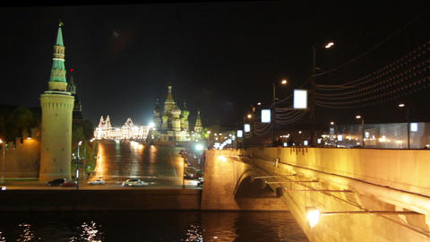 Moscow Kremlin night landscape Stock Video Footage