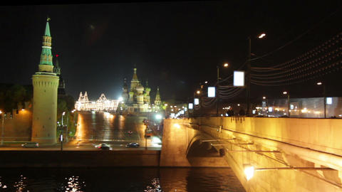 Moscow Kremlin night landscape Stock Video Footage
