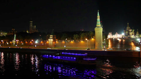 Moscow Kremlin river night landscape with ship Footage