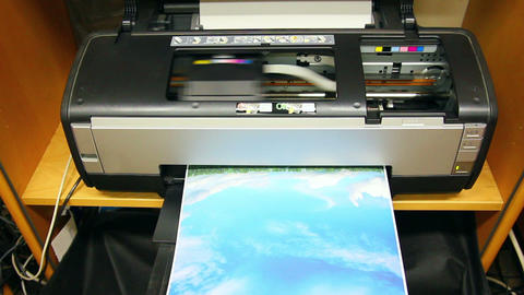 Inkjet printer color photo prints Stock Video Footage