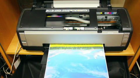 Inkjet printer color photo prints Footage