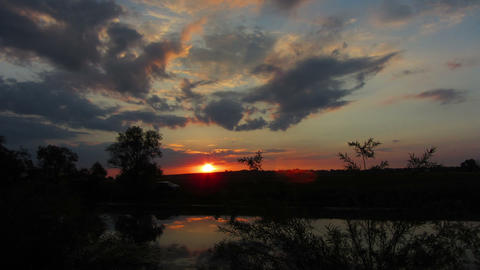 timelapse landscape with sunrise over lake Stock Video Footage