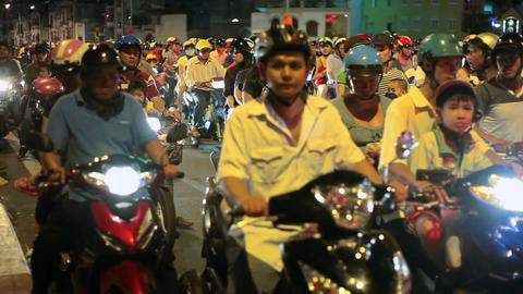 Night Traffic in Ho Chi Minh City, Vietnam Stock Video Footage