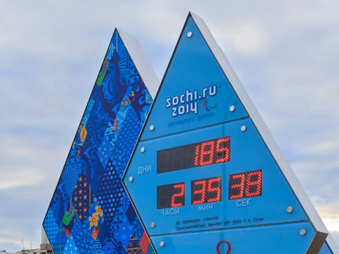 Paralympic Clock Games in Sochi 2014. Fixed distor Footage