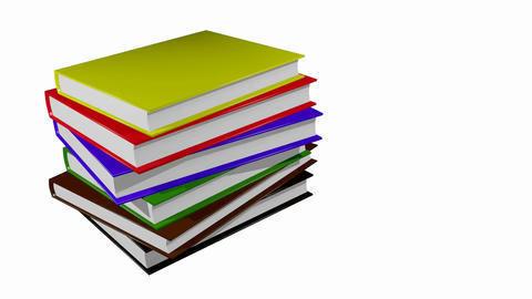 book stack over white Stock Video Footage