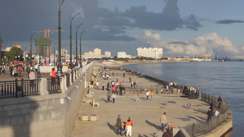 City of Blagoveshchensk Embankment 07 Stock Video Footage