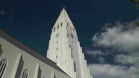 Hallgrimskirkja in Reykjavik Stock Video Footage