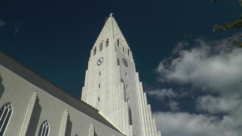 Hallgrimskirkja in Reykjavik Stock Video Footage