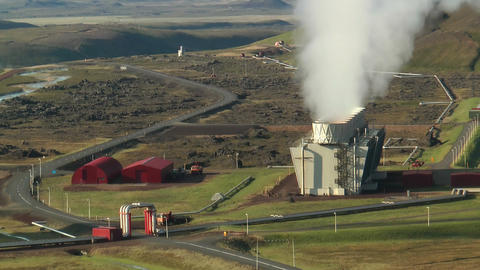 Aerial View of Krafla Geothermal Power Station in Stock Video Footage