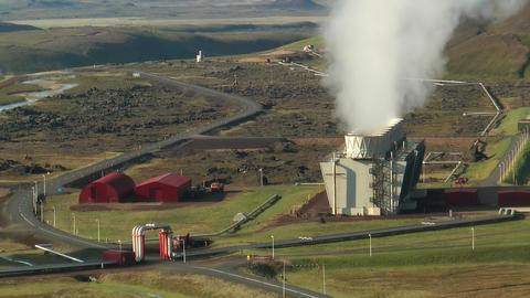 Aerial View of Krafla Geothermal Power Station in  Footage