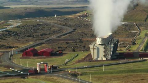 Aerial View of Krafla Geothermal Power Station in Stock Video Footage