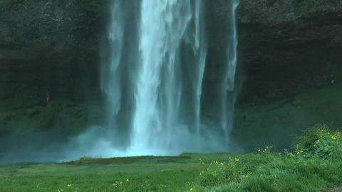 Seljalandsfoss waterfall in Iceland closeup Footage