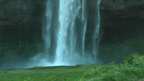 Seljalandsfoss waterfall in Iceland closeup Footage