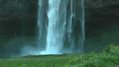 Seljalandsfoss waterfall in Iceland closeup Stock Video Footage