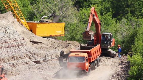 loader dump tipper loads of sand Stock Video Footage