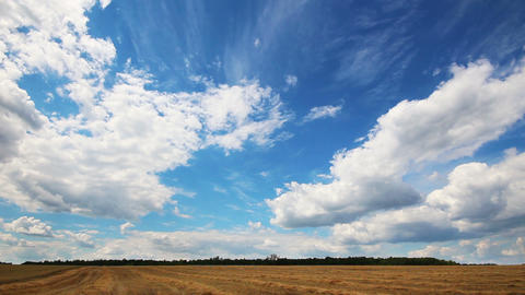 timelapse with clouds moving over yellow field Stock Video Footage