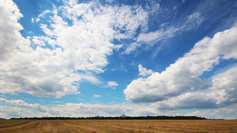 timelapse with clouds moving over yellow field Footage