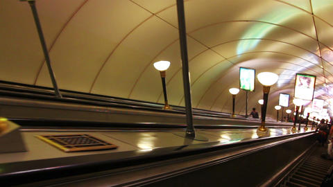 escalator in subway station in St. Petersburg Russ Footage