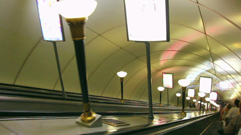 escalator in subway station in St. Petersburg Russ Footage