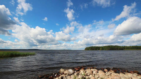 landscape with Vuoksa lake in Russia Footage