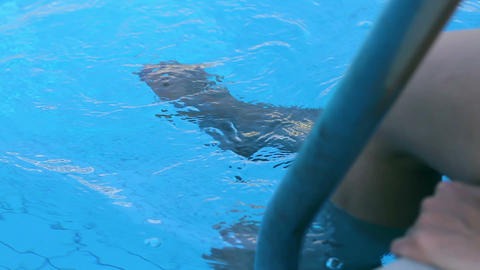 woman in the pool Stock Video Footage