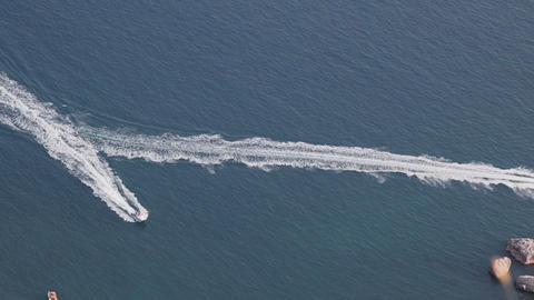 Speed boats racing in the sea, top view Stock Video Footage
