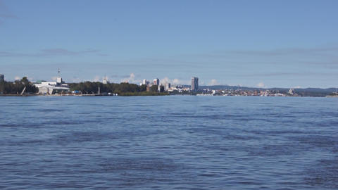 View of Heihe city from the Amur river 01 Stock Video Footage