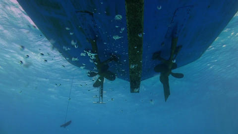 Propeller from the bottom of the ship under water Stock Video Footage