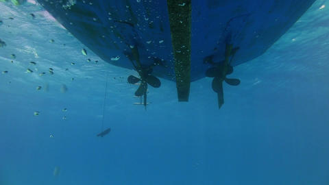 Propeller from the bottom of the ship under water Footage