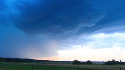 Sunset and thunderstorms. Lightning flashed. Time Stock Video Footage