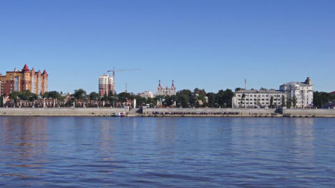 City of Blagoveshchensk on the Amur river 02 Stock Video Footage