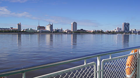 View of Heihe city from the Amur river 06 Stock Video Footage