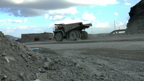Heavy mining dump trucks Stock Video Footage