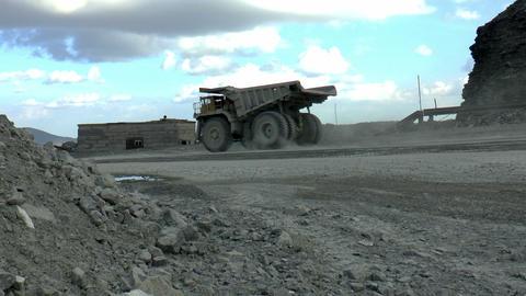 Heavy mining dump trucks Footage